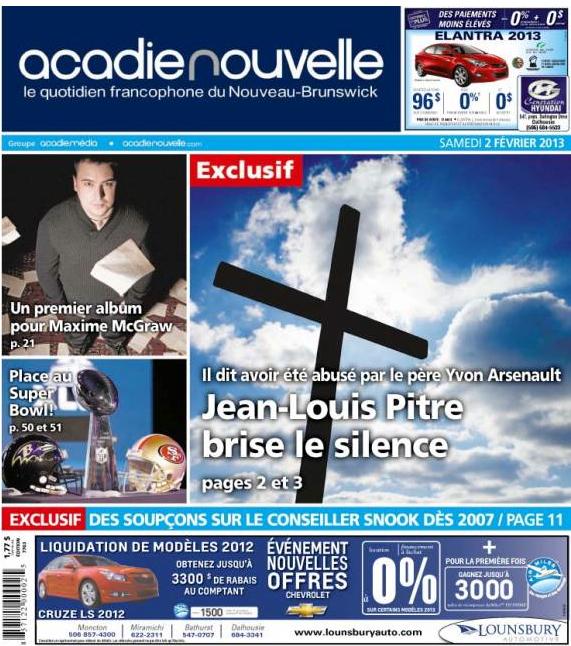 Jean Louis Acadie Nouvelle cover 2013-02-02