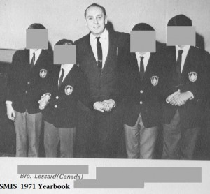 Brother Lessard with students  1971 SMIS Yearbook sans