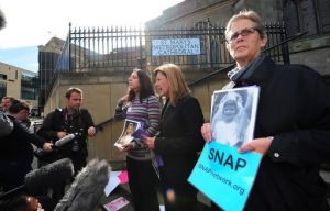 (Centre from left to right) Therese Albrecht, Barbara Blaine and Barbara Doris, part of the Survivors Network of Those Abused By Priests - from the US, protest outside St Mary's Metropolitan Cathedral in Edinburgh, ahead of the forthcoming visit to the UK by Pope Benedict XVI.