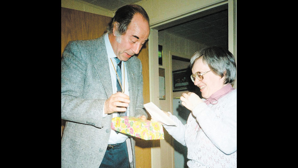Father joveneau with sister armande dumas at a celebration celebrated at the presbytery in 1987